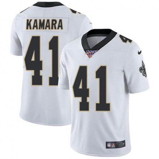 Men's New Orleans Saints #41 Alvin Kamara White 2019 100th Season Vapor Untouchable Limited Stitched NFL Jersey