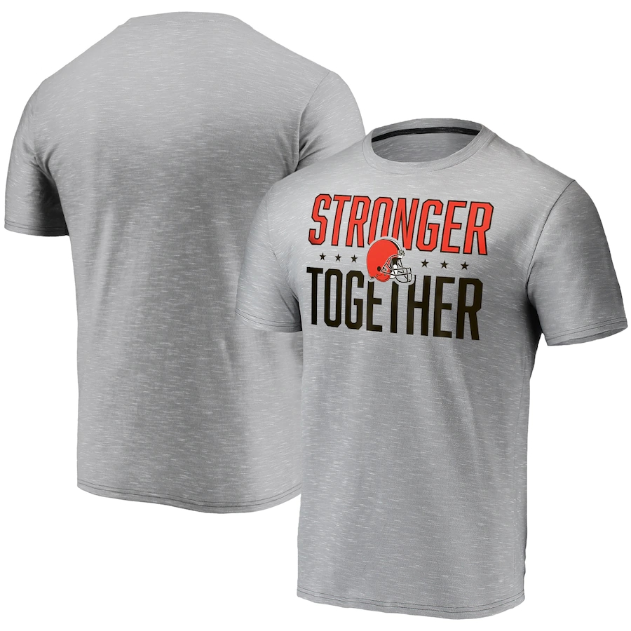 Men's Cleveland Browns Grey Charcoal Stronger Together T-Shirt