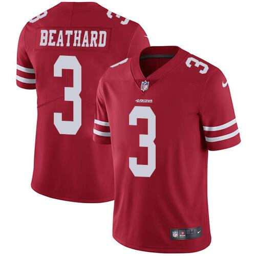 Men's San Francisco 49ers #3 C.J. Beathard Red Vapor Untouchable Limited Stitched NFL Jersey