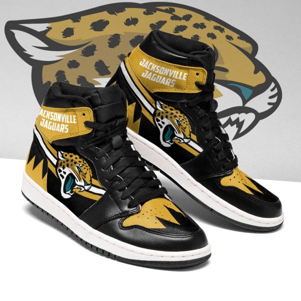 Men's Jacksonville Jaguars High Top Leather AJ1 Sneakers 002