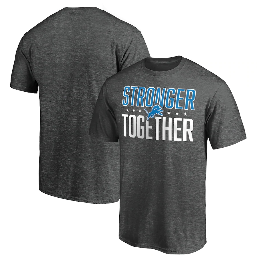 Men's Detroit Lions Heather Charcoal Stronger Together T-Shirt