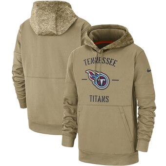 Men's Tennessee Titans Tan 2019 Salute to Service Sideline Therma Pullover Hoodie
