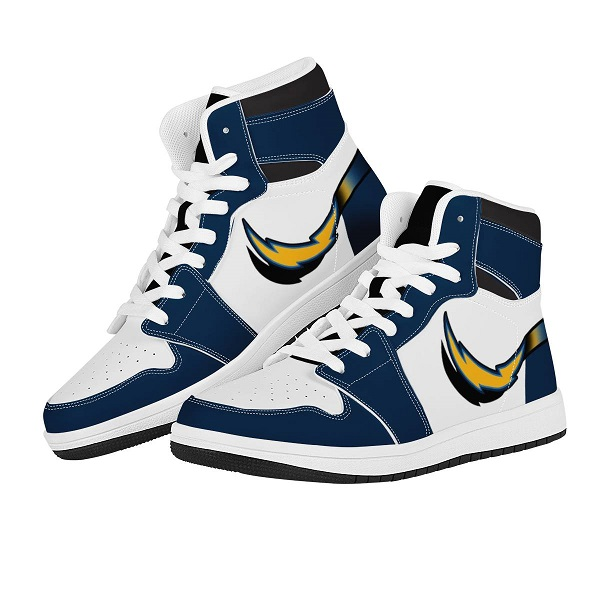 Men's Los Angeles Chargers High Top Leather AJ1 Sneakers 001