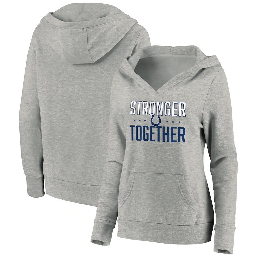 Women's Indianapolis Colts Heather Gray Stronger Together Crossover Neck Pullover Hoodie(Run Small)