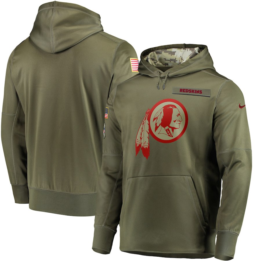 Men's Washington Redskins 2018 Olive Salute to Service Sideline Therma Performance Pullover Stitched NFL Hoodie