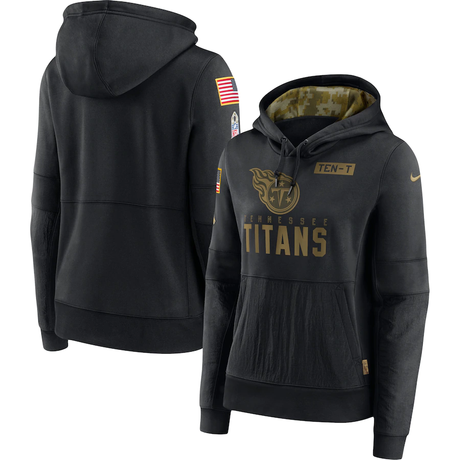 Women's Tennessee Titans 2020 Black Salute to Service Sideline Performance Pullover Hoodie (Run Small)