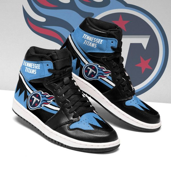 Women's Tennessee Titans High Top Leather AJ1 Sneakers 001