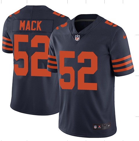 Men's Chicago Bears #52 Khalil Mack Navy Throwback Vapor Untouchable Limited Stitched NFL Jersey