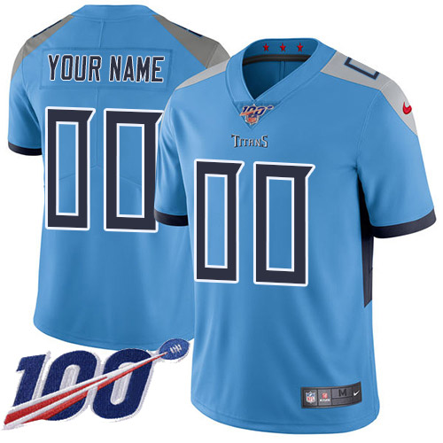 Men's Tennessee Titans ACTIVE PLAYER Custom Light Blue 100th Season Vapor Untouchable Limited Stitched NFL Jersey