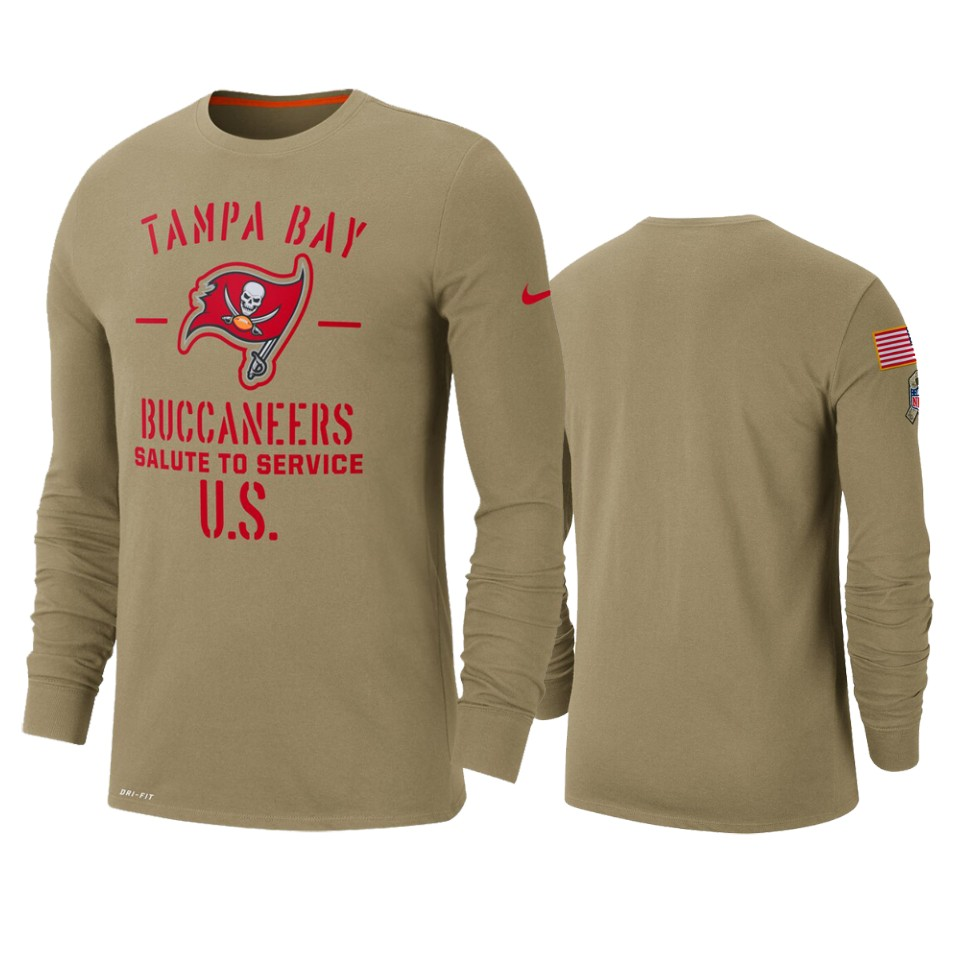 Men's Tampa Bay Buccaneers Tan 2019 Salute to Service Sideline Performance Long Sleeve Shirt