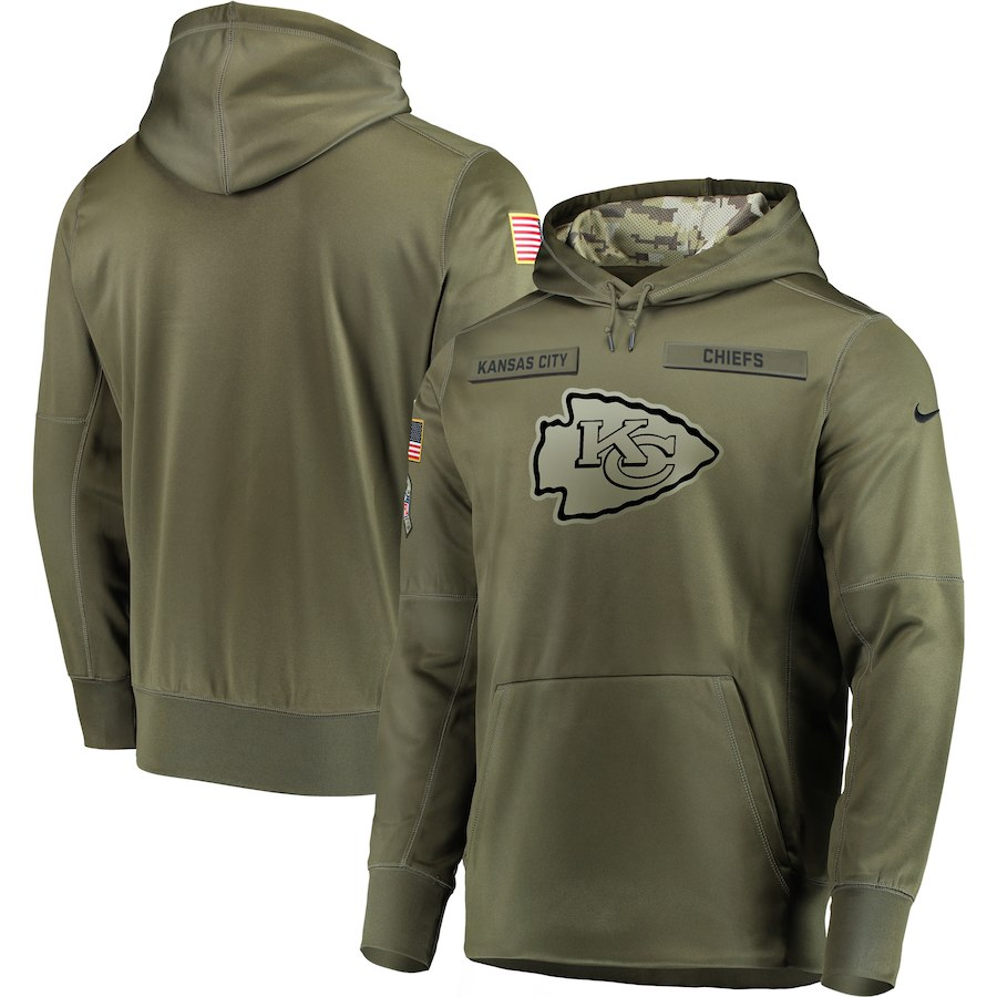 Men's Kansas City Chiefs 2018 Olive Salute to Service Sideline Therma Performance Pullover Stitched NFL Hoodie