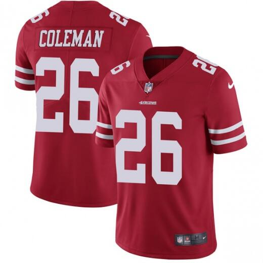 Men's San Francisco 49ers #26 Tevin Coleman Red Vapor Untouchable Limited Stitched NFL Jersey