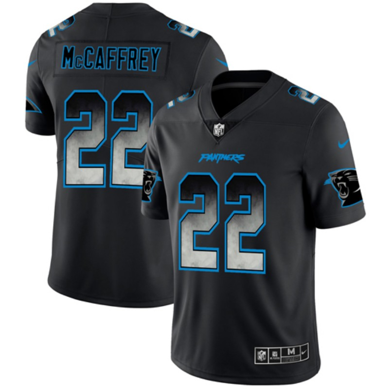 Men's Carolina Panthers #22 Christian McCaffrey Black 2019 Smoke Fashion Limited Stitched NFL Jersey