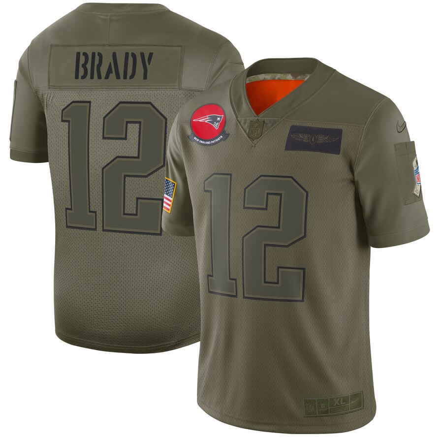 Men's New England Patriots #12 Tom Brady 2019 Camo Salute To Service Limited Stitched NFL Jersey