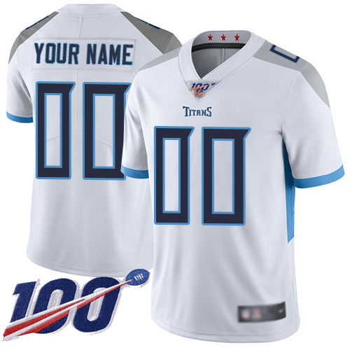 Men's Tennessee Titans ACTIVE PLAYER Custom White 100th Season Vapor Untouchable Limited Stitched NFL Jersey