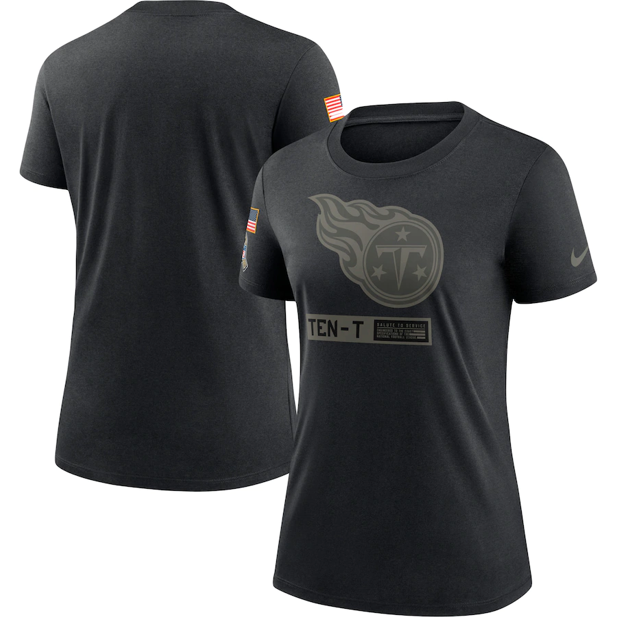 Women's Tennessee Titans 2020 Black Salute To Service Performance T-Shirt (Run Small)