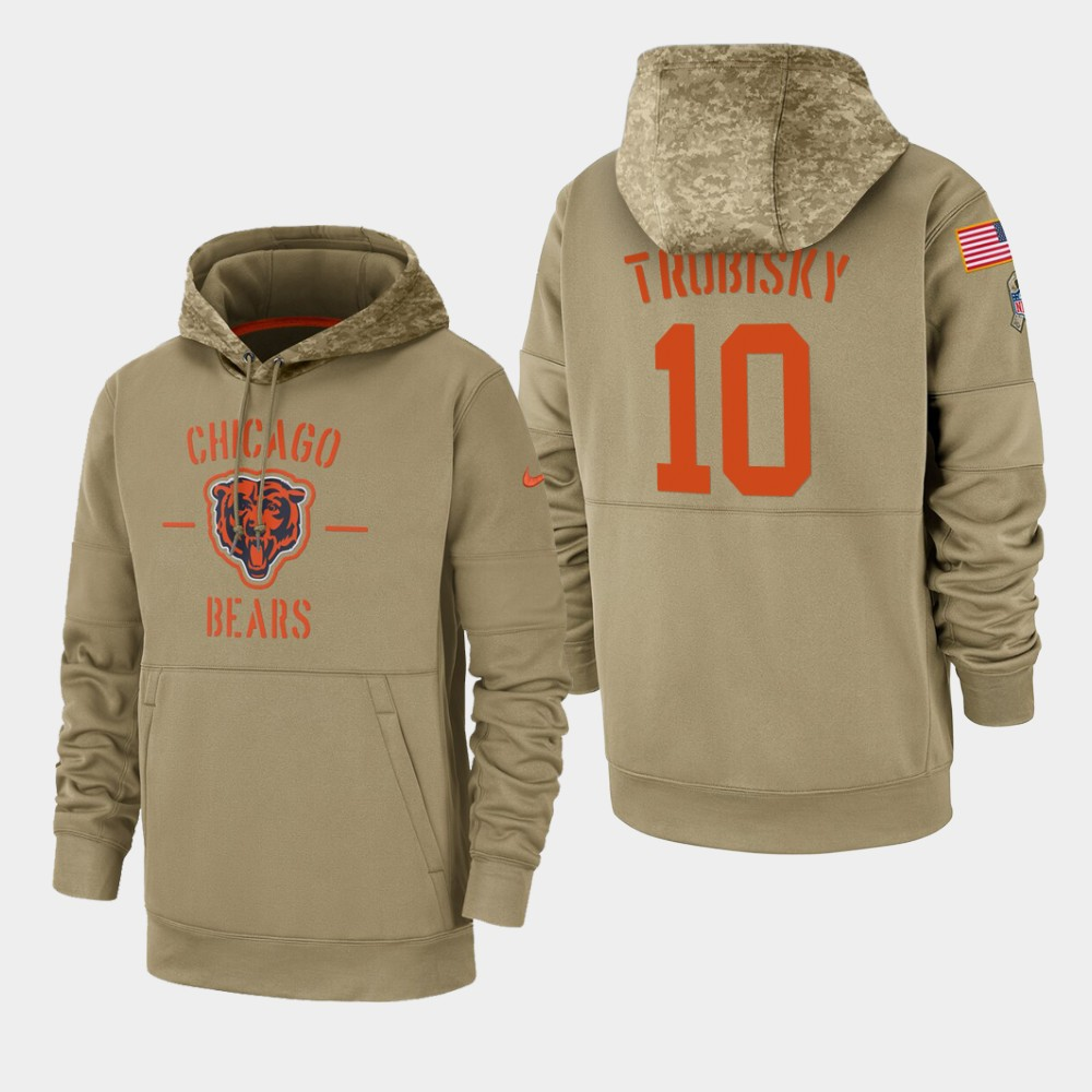 Men's Chicago Bears #10 Mitchell Trubisky Tan 2019 Salute to Service Sideline Therma Pullover Hoodie