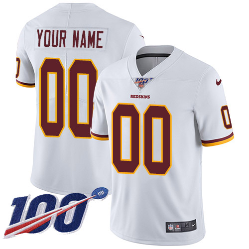 Men's Washington Redskins ACTIVE PLAYER Custom White 100th Season Vapor Untouchable Limited Stitched NFL Jersey