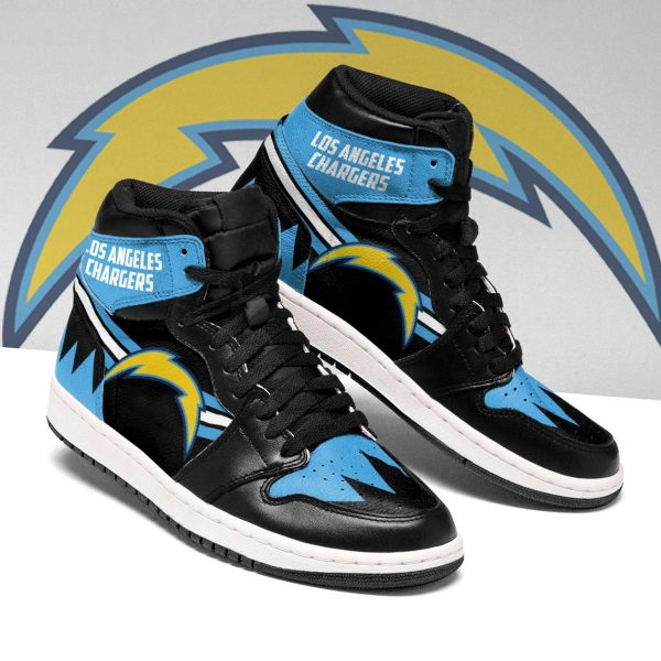 Men's Los Angeles Chargers High Top Leather AJ1 Sneakers 002