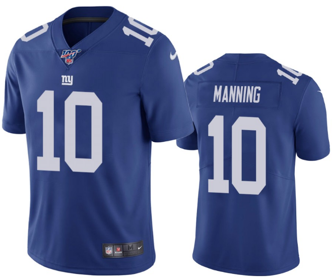 Men's New York Giants #10 Eli Manning Blue 2019 100th Season Vapor Untouchable Limited Stitched NFL Jersey