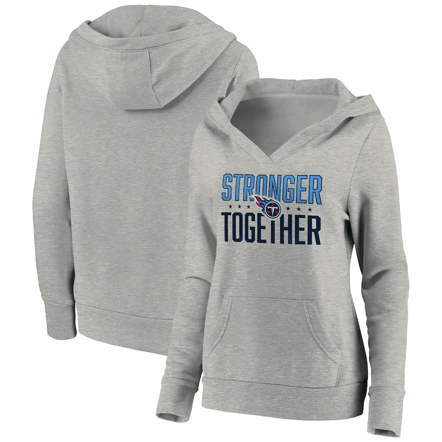 Women's Tennessee Titans Heather Gray Stronger Together Crossover Neck Pullover Hoodie(Run Small)
