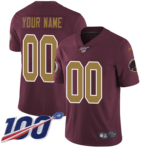 Men's Washington Redskins ACTIVE PLAYER Custom Burgundy Red 100th Season Vapor Untouchable Limited Stitched NFL Jersey
