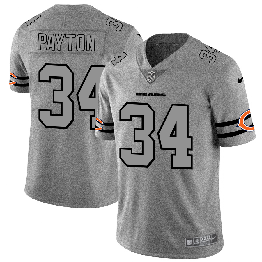 Men's Chicago Bears #34 Walter Payton 2019 Gray Gridiron Team Logo Limited Stitched NFL Jersey