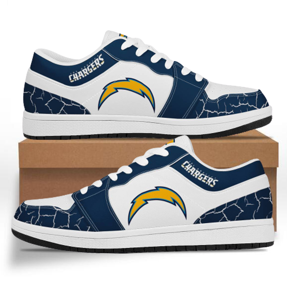 Men's Los Angeles Chargers Low Top Leather AJ1 Sneakers 001