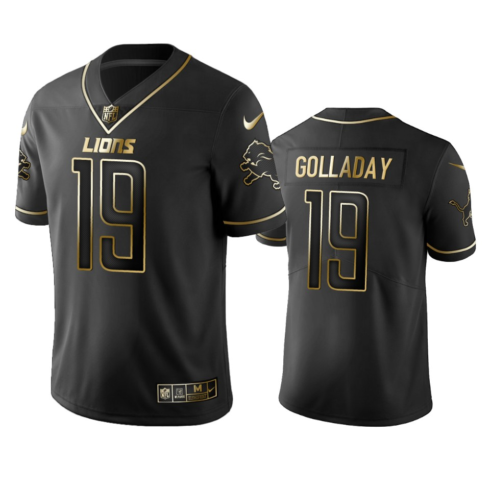 Men's Detroit Lions #19 Kenny Golladay Black 2019 Golden Edition Limited Stitched NFL Jersey
