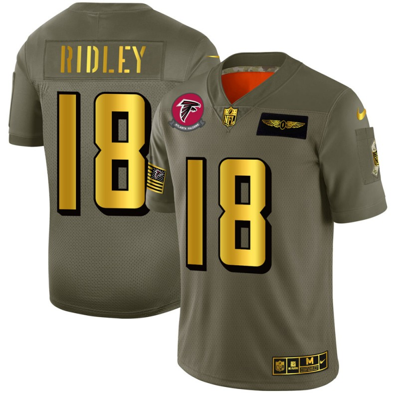 Men's Atlanta Falcons #18 Calvin Ridley 2019 Olive/Gold Salute To Service Limited Stitched NFL Jersey