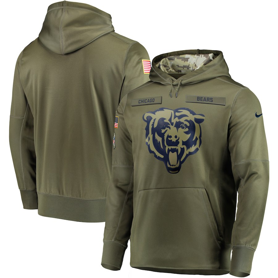 Men's Chicago Bears 2018 Olive Salute to Service Sideline Therma Performance Pullover Stitched NFL Hoodie