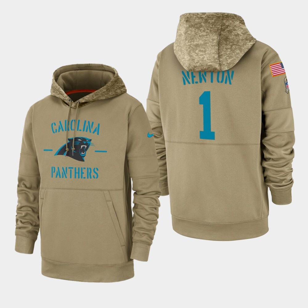 Men's Carolina Panthers #1 Cam Newton Tan 2019 Salute to Service Sideline Therma Pullover Hoodie