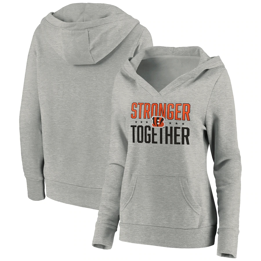 Women's Cincinnati Bengals Heather Gray Stronger Together Crossover Neck Pullover Hoodie(Run Small)