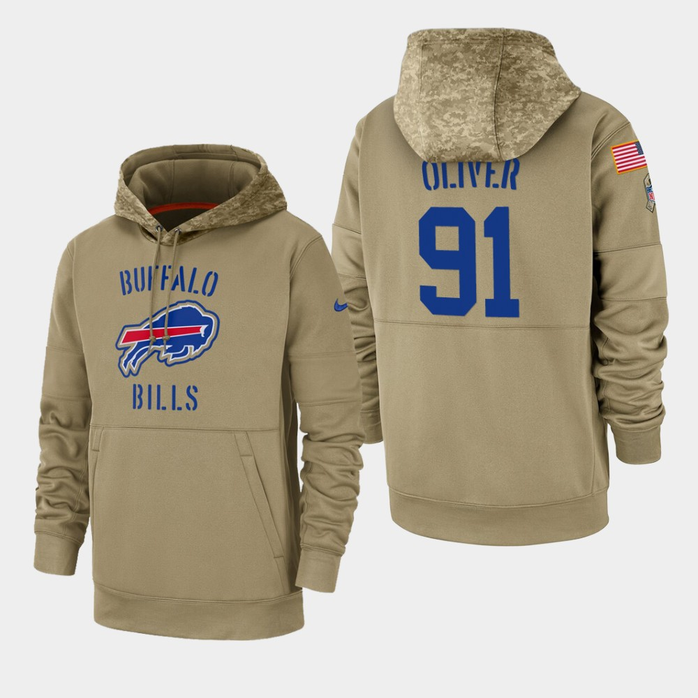 Men's Buffalo Bills #91 Ed Oliver Tan 2019 Salute to Service Sideline Therma Pullover Hoodie