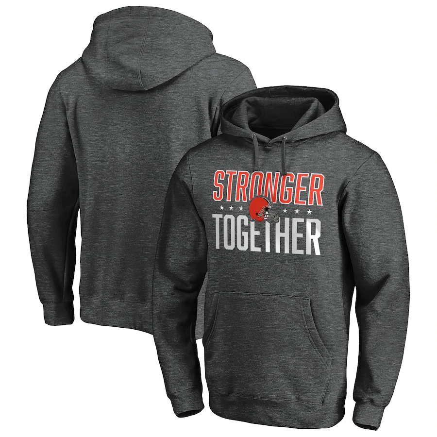 Men's Cleveland Browns Heather Charcoal Stronger Together Pullover Hoodie
