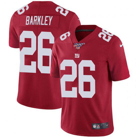 Men's New York Giants #26 Saquon Barkley Red 2019 100th Season Vapor Untouchable Limited Stitched NFL Jersey