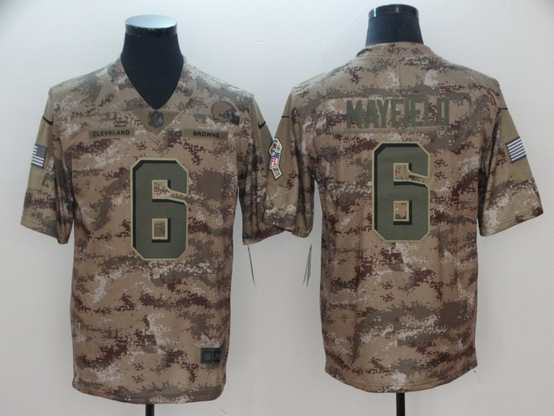 Men's Cleveland Browns #6 Baker Mayfield 2018 Camo Salute to Service Limited Stitched NFL Jersey