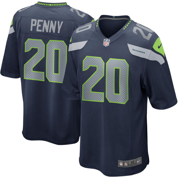 Men's Seattle Seahawks #20 Rashaad Penny Navy 2018 NFL Draft First Round Pick Game Jersey