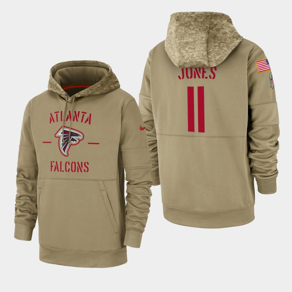 Men's Atlanta Falcons #11 Julio Jones Tan 2019 Salute to Service Sideline Therma Pullover Hoodie