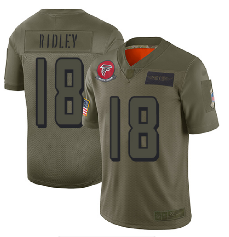 Men's Atlanta Falcons #18 Calvin Ridley 2019 Camo Salute To Service Limited Stitched NFL Jersey