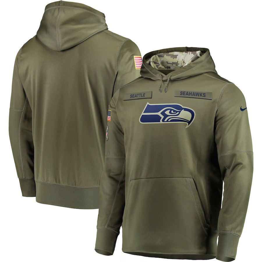 Men's Seattle Seahawks 2018 Olive Salute to Service Sideline Therma Performance Pullover Stitched NFL Hoodie