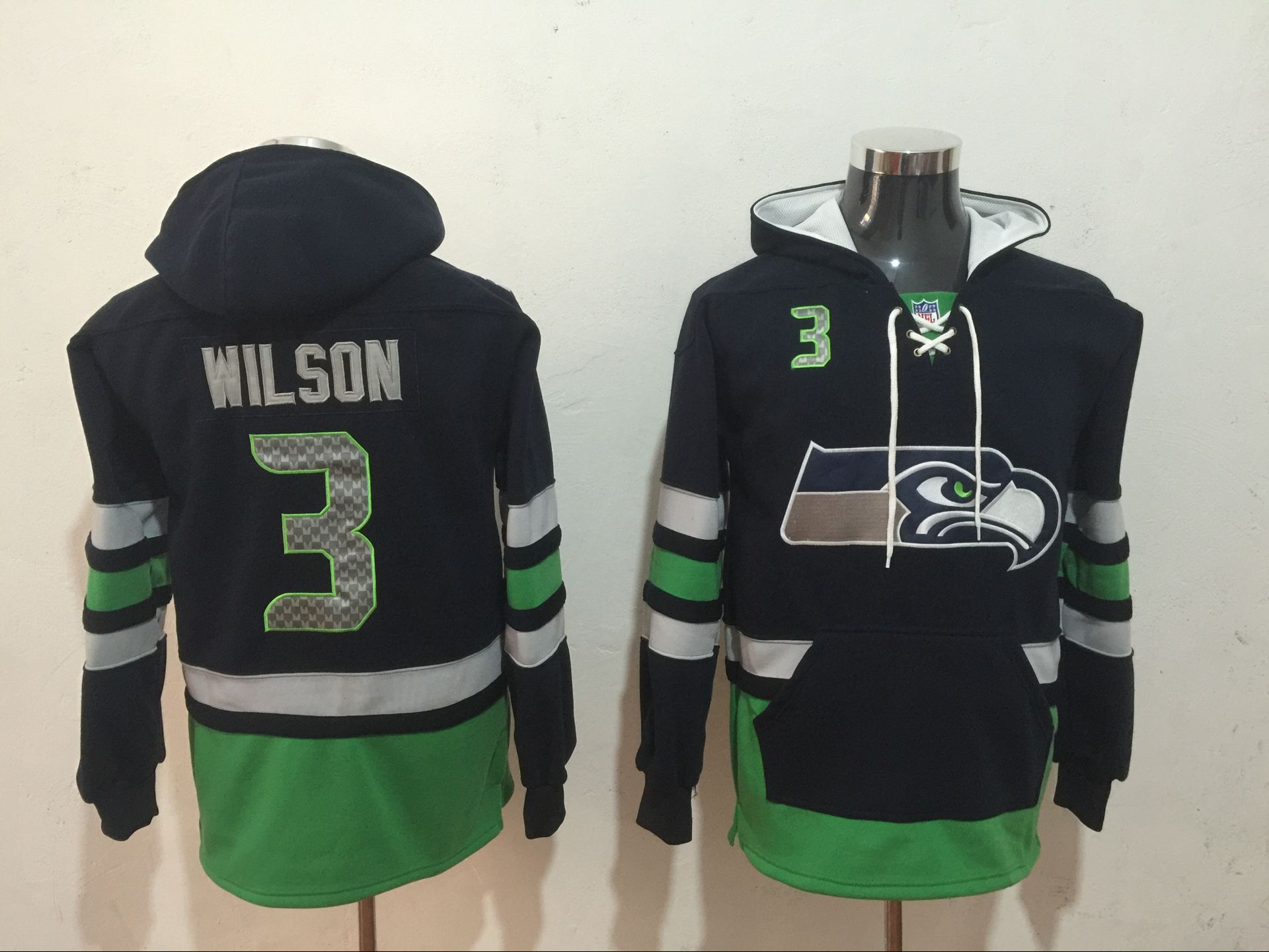 Men's Seattle Seahawks #3 Russell Wilson Navy Blue All Stitched NFL Hoodie Sweatshirt