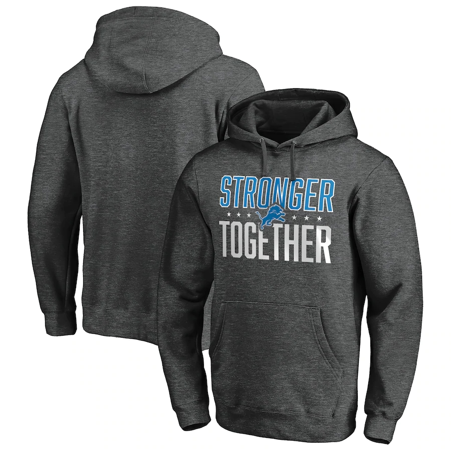 Men's Detroit Lions Heather Charcoal Stronger Together Pullover Hoodie