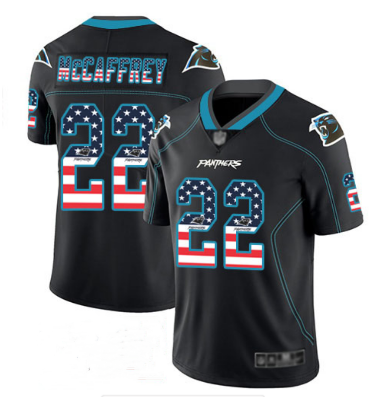 Men's Carolina Panthers #22 Christian McCaffrey Black USA Flag Color Rush Limited Fashion NFL Jersey