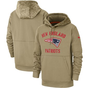 Men's New England Patriots Tan 2019 Salute to Service Sideline Therma Pullover Hoodie