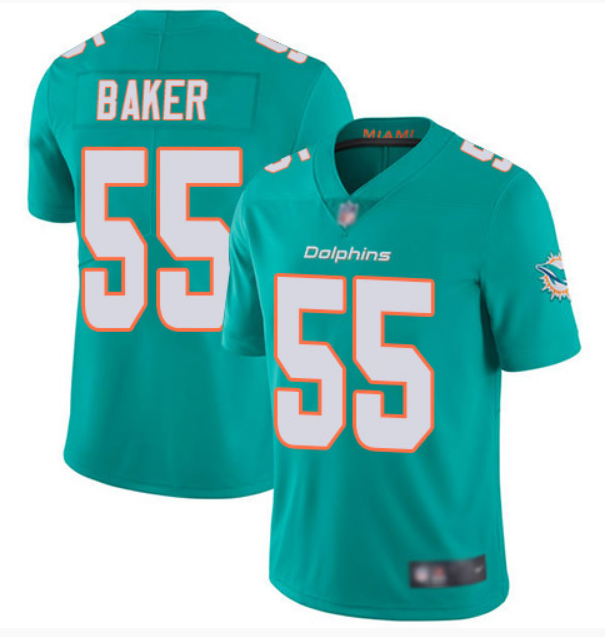 Men's Miami Dolphins #55 Jerome Baker Aqua Color Rush Limited Stitched NFL Jersey