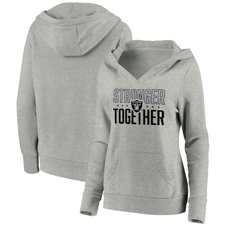 Women's Las Vegas Raiders Heather Gray Stronger Together Crossover Neck Pullover Hoodie(Run Small)