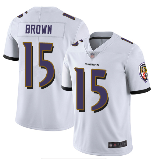 Men's Baltimore Ravens #15 Marquise Brown White Vapor Untouchable Limited NFL Jersey