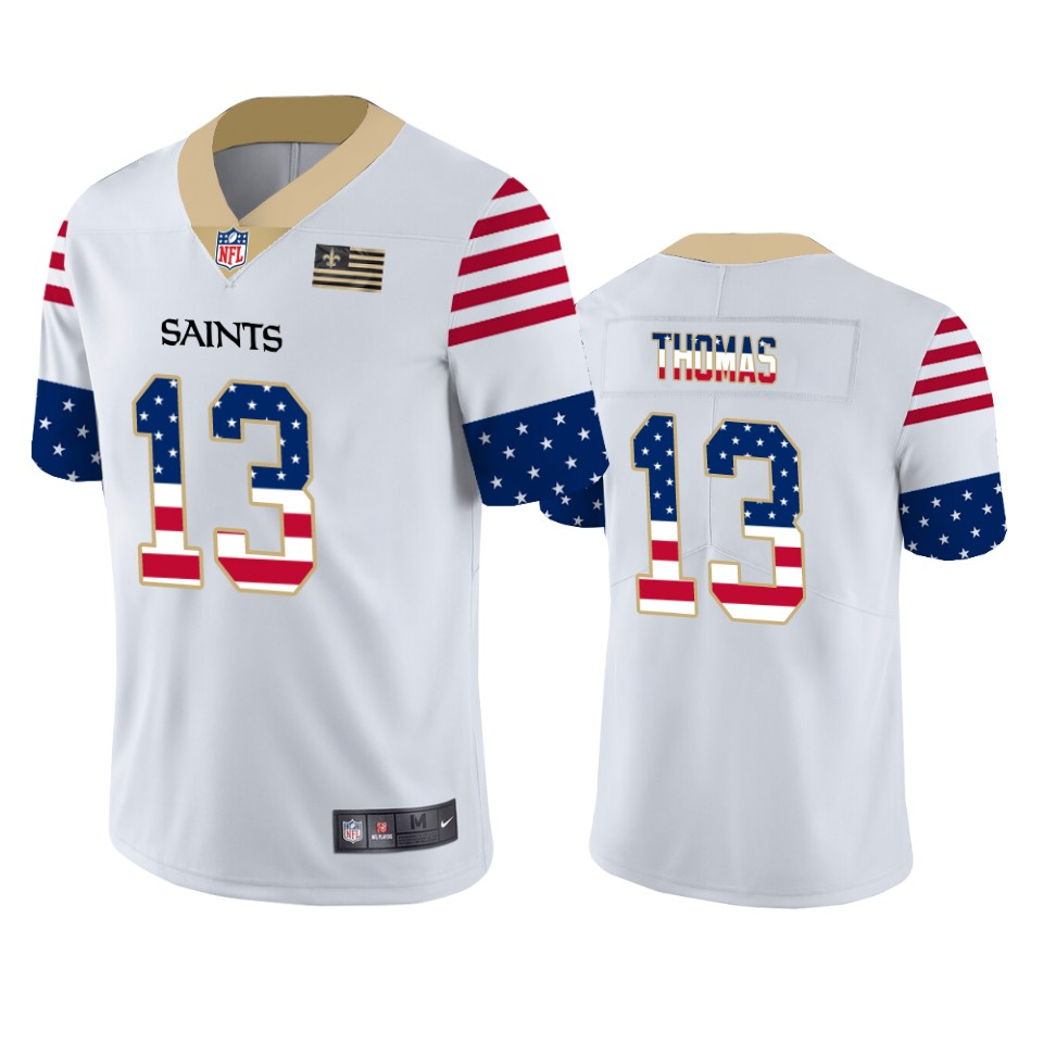 Men's New Orleans Saints #13 Michael Thomas White 2019 USA Flag Fashion Limited Stitched NFL Jersey