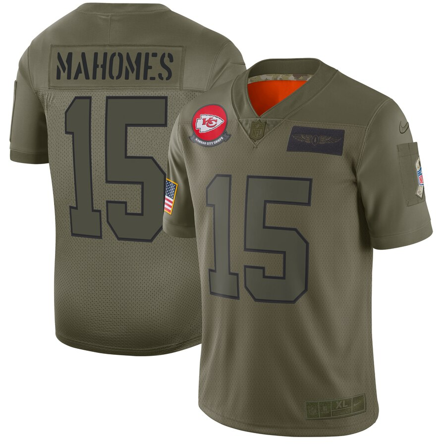 Men's Kansas City Chiefs #15 Patrick Mahomes 2019 Camo Salute To Service Limited Stitched NFL Jersey